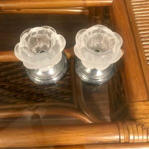 Other - Frosted Glass & Silver Base Candle Stick Holders